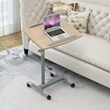 Aluminum Alloy Folding Laptop Desk with Brown Density Board,Adjusable Height, Lockable Casters,Folding Tables for Bedroom ...