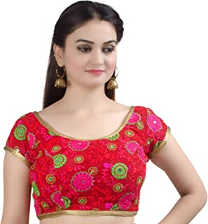Women's Party Wear Bollywood Readymade Indian Ethnic Saree Blouse Padded Resham Work Choli (B108)