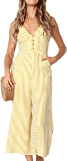 9451ac02285 Assivia Womens Sexy Striped Spaghetti Strap Backless Wide Leg Jumpsuit  Rompers