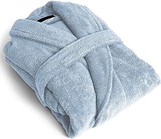 PimpamTex Accappatoio unisex in 100% cotone, per uomo e donna, morbido e confortevole, con cintura e pratiche tasche laterali