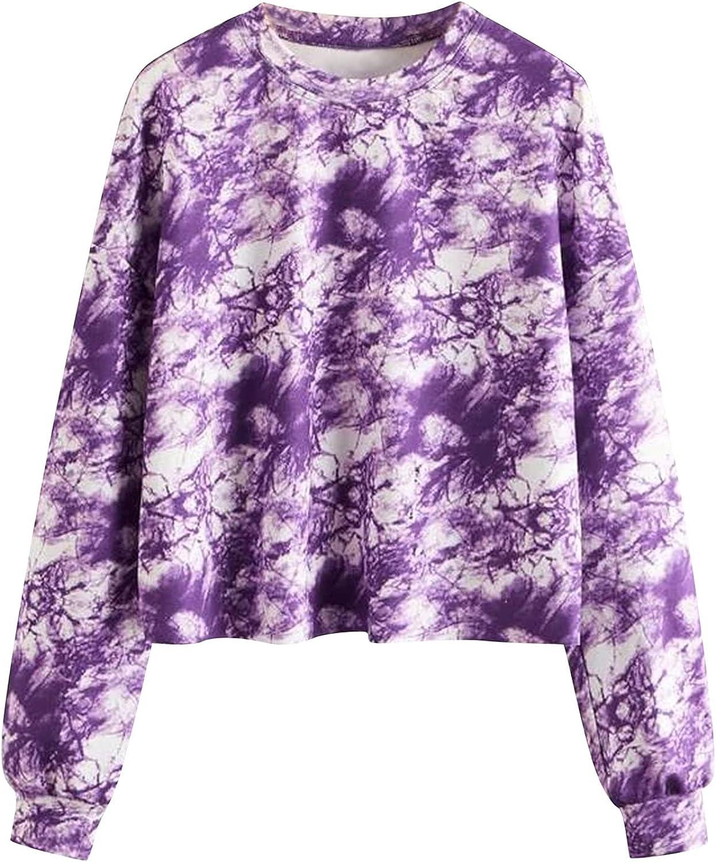 Hoodies for Women Fashion Casual Tie-Dye Print Long Sleeve Soft Sweatshirts Loose Pullover Tops