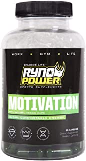 Ryno Power Motivation Capsules - Natural Boost for Mental and Physical Performance - Gluten Free / Banned Substance Free /...