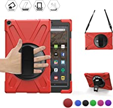 BRAECN Amazon Fire HD 10 Tablet Case (2017 Release 7th Generation) -[Heavy Duty] Rugged Armor Shockproof Protective Case with Handle Strap,Shoulder Strap,Kickstand for Amazon Kindle Fire HD 10 (Red)