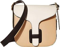 COACH Color-Block Leather Courier Bag,Beige