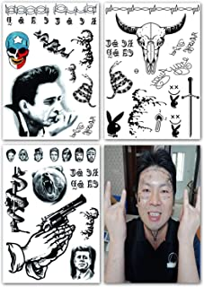 DaLin Temporary Tattoos 3 Sheets Face Neck Hands Arm Tattoos Sticker, Fake Tattoos for Halloween Costume Accessories and Parties