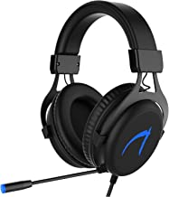 MUTOUREN Gaming Headset 7.1 Stereo Surround Sound 57mm Drivers Audio Headsets USB PC Gaming Headphones with Microphone,Over-the-Ear Noise Isolating,Breathing LED Light for PC Gamers (Black)