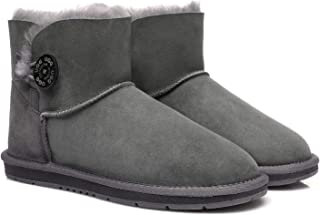 UGG Boots Australia Premium Double Face Sheepskin Mini Button Water Resistant Winter Womens Shoes