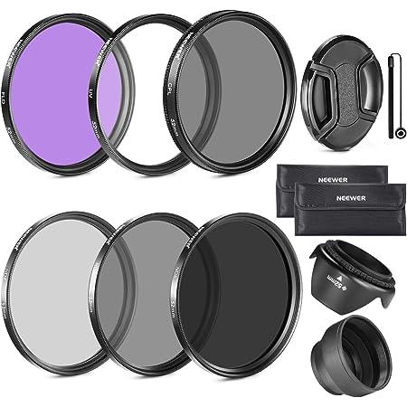 Neewer® 58mm Objectif Filtre Kit d'Accessoire pour Canon EOS 700D 650D 600D 550D 500D 450D 400D 350D 300D 1100D 1000D 100D 60D / Rebel T5i T4i T3i T3 T2i T1i XT XTi XSi SL1 Appareils Photo Reflex - Inclus: 58mm Ensembre de Filtre (UV, CPL, FLD) + Ensemble de Filtre ND Densité Neutre (ND2, ND4, ND8) + Sac de Transport + Parasoleil Tulipe + Parasoleil Pliant + Bouchon d'Objectif Avant Snap-On + Laisse de Bouchon Garde + Chiffon de Nettoyage en Microfibre