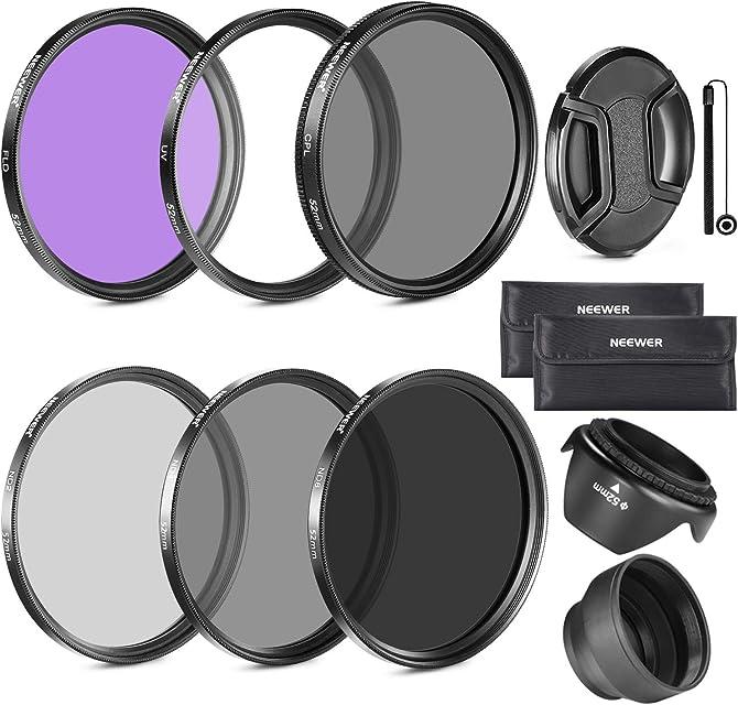 Neewer Filtro para Lentes de 52 mm Accesorio Kit:UV CPL FLD ND2 ND4 ND8 y Parasol Tapa de Lentes para Nikon D7100 D7000 D5200 D5100 D5000 D3300 D3200 D3100 D3000 D90 D80 DSLR