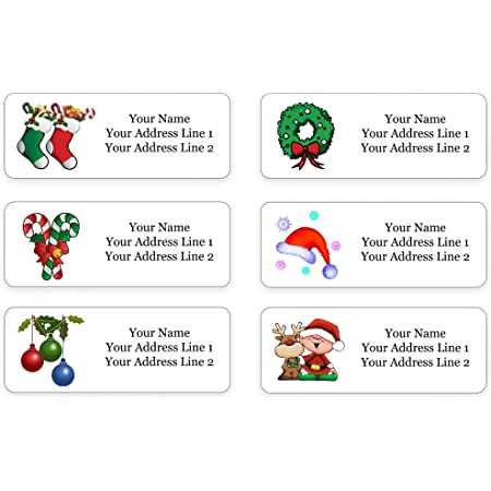 30 Cute Christmas Penguin Tangled in Holiday Lights Personalized Return Address Labels
