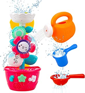 Hommate Flower Bath Toys Bathtub Toys for Toddlers Babies Kids 1 2 3 Year Old Girls Boys Gifts with 1 Mini Sprinkler 2 Toys Cups Strong Suction Cups Gifts Ideal with Color Box