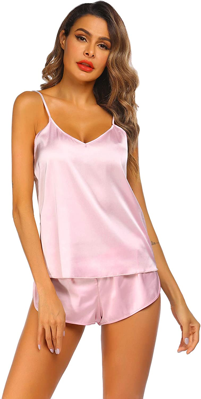 luxilooks Sleepwear for Womens V-Neck Pajama Set Cami Lingerie Satin Pjs Camisole 2 Piece Nightwear