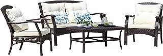 SUNTONE Outdoor Furniture 4 Piece Conversation Set- All Weather PE Rattan Wicker Patio Furniture Set, Beige Cushions, 2 Throw Pillows