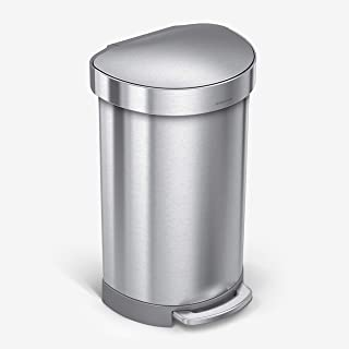 simplehuman Semi-Round Step Trash Can with Liner Rim, Stainless Steel, 45 Liter / 10.5 Gallon