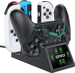 ジョイコン Joy-Con プロコン 充電 スタンド OIVO 4台ジョイコン 1台プロコン 同時充電 急速充電 充電指示LEDランプ付 Joy-Con充電 スイッチプロコン充電 Switchコントローラー充電 収納