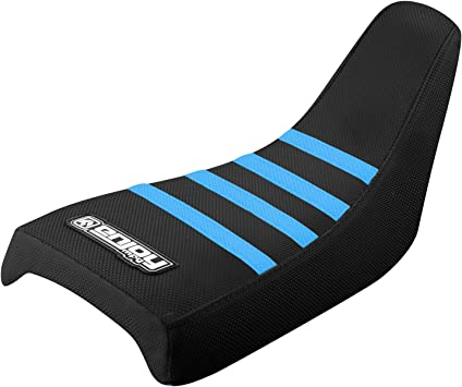 YAMAHA PW 50 SEAT COVER ALL BLACK WITH RIBS GRIPPER BLACK//LIGHT BLUE