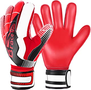 Goalie Goalkeeper Gloves for Youth and Adult, with Strong Grip and Finger Spines Protection, Black Latex Soccer Keeper Glove for Men and Women, Training and Match, Indoor and Outdoor