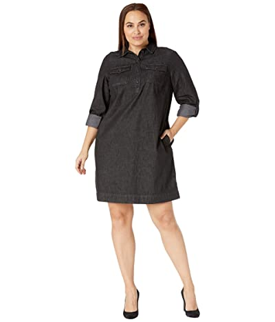 LAUREN Ralph Lauren Plus Size Cotton Shift Dress (Pitch Dark Wash) Women