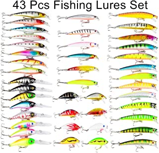 Isafish 101 pcs Fishing Lure Kit Combo Including Fish Hooks,  Hard/Soft Bait and Other Saltwater Freshwater Lures for Fishing with Tackle Box White