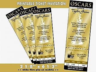 Oscar Awards Party Golden Ticket Invitation, Printable