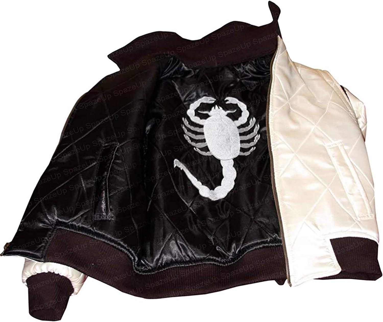 Spazeup Reversible Scorpion Drive Jacket - Mens Scorpion Logo Drive Satin Bomber Jacket