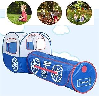 GJNWRQCY 2-i-1 speltält med tunnel äventyr lektunnel för barn Indoor Outdoor Pop-Up Crawl Toy Blue