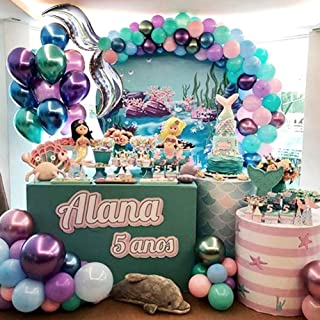 Mermaid Tail Balloon Garland Arch Kit 17ft Under the Sea Party Mermaid Birthday Baby Shower Ocean Theme Party Decoration (Silver)