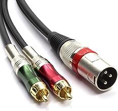 SiYear - Cable adaptador de conector XLR macho de 3 pines a 2 conectores RCA macho de audio estéreo con divisor en Y (1,5 metros)