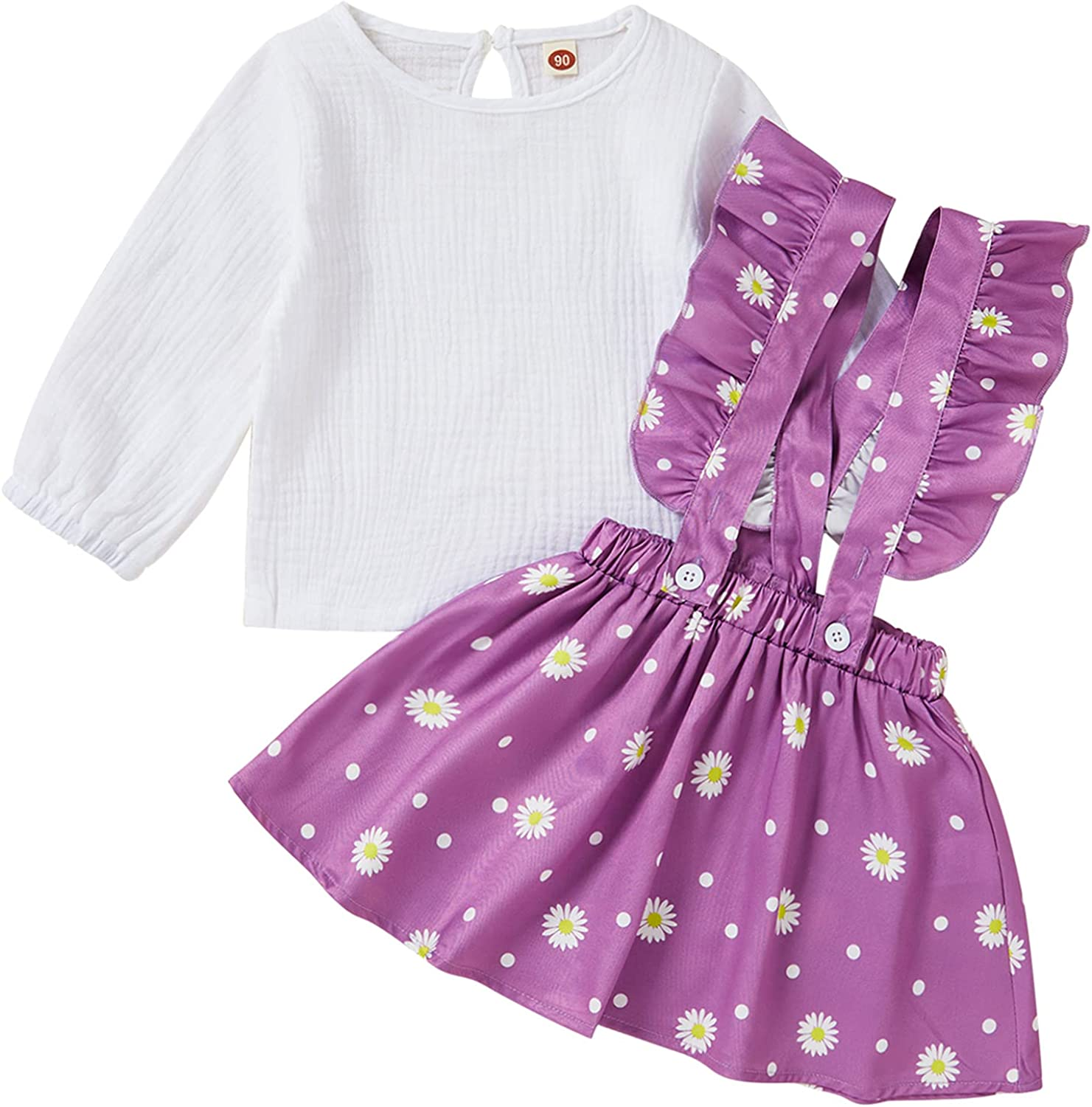 Toddler Baby Girl Clothes Long Sleeve Linen Shirt Top Floral Ruffle Suspender Skirts Autumn Outfits