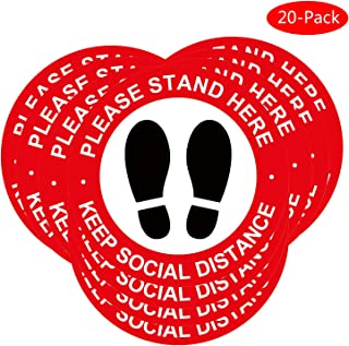 Public Place Sticker Social Distancing Floor Decal Stickers 20 Pieces of 12x12inch Specialized Sticker Markers (red)