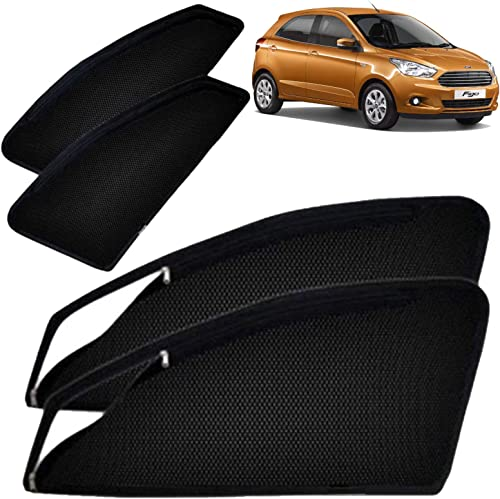 Autofact Magnetic Window Sunshades/Curtains for Ford Figo New Figo (2016 Onwards) [Set of 4pc - Front 2pc with Zipper...
