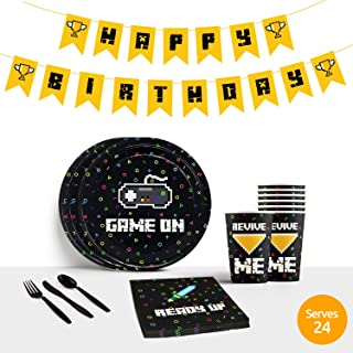 Video Game Party Supplies for Gaming Party | Gamer Party Supplies for Boys, Boys Birthday Party Supplies Decorations Favors | Includes Plates Cups Napkins Utensils Happy Birthday Banner | Serves 24