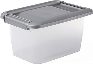 Sundis 4387006 Boîte de Rangement avec couvercle clipsable et poignées ergonomiques, Plastique, Transparent/Argent, 5L