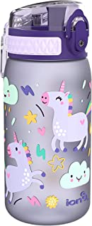 Ion8 Kid's One Touch On-The-Go Printed Water Bottle - Leakproof and BPA-Free Water Bottle - Fits Car Cup Holders and Kid's...