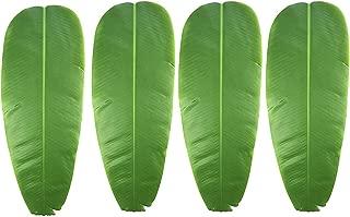 Warmter 4 PCS Artificial Plant Leaves Banana Leaf Tropical Leaves Decorations Luau Safari Party Supplies 24.4