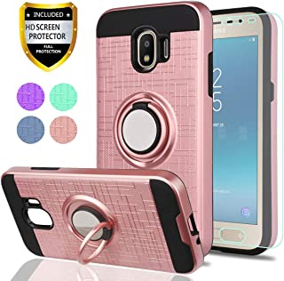 Galaxy J2 Pro 2018 Case with HD Phone Screen Protector,YmhxcY 360 Degree Rotating Ring & Bracket Dual Layer Resistant Back Cover for Samsung Galaxy J2 Pro(2018)-ZH Rose Gold