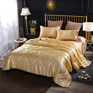 NTBED Luxury Satin Comforter Sets Golden Lightweight Soft Sexy Silky Quilt Bedding Set (Gold, Queen)