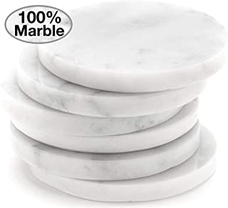 White Carrara Marble Coasters For Drinks, Set of 6 | Perfect Housewarming Gifts, Wedding Gift, or For Your Kitchen, Living Room, Coffee Table Decor