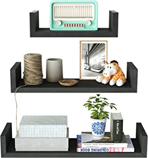 SRIWATANA Floating Shelves Wall Mounted, Solid Wood Wall Shelves, Vintage Black Finish