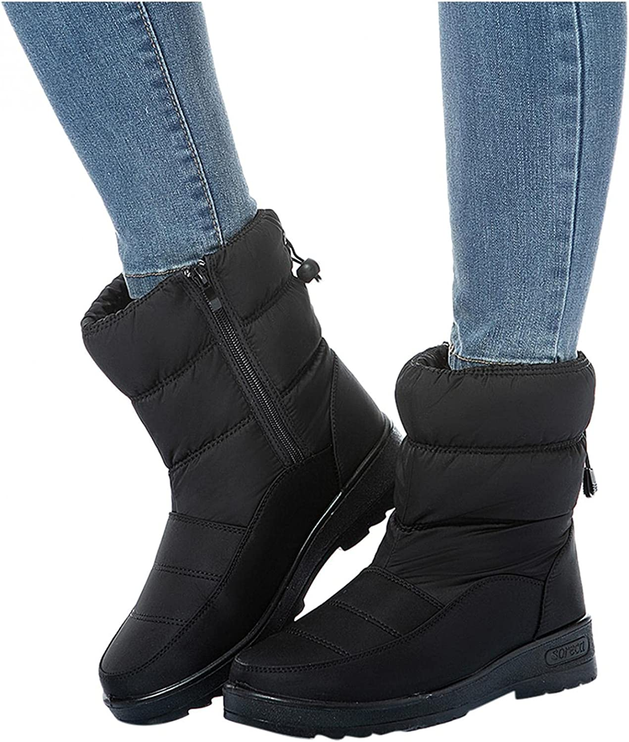 Gibobby Snow Boots for Women Waterproof Ankle Boots Strap Slip On Outdoor Warm Fleece Lining Winter Short Cowboy Boots