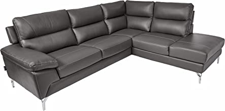"Homelegance 9969 Genuine Leather Upholstered Sectional Sofa, 98"", Gray"