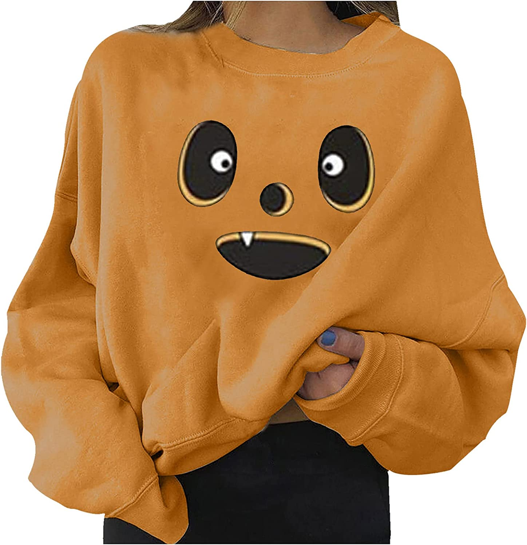 iYBUIA Halloween Womens Sweatershirt,Pumpkin Print Tshirt Long Sleeve Casual Blouse Round Neck Tunic Pullover