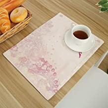 Personality 6Pcs Simple Style Decorative Washable Anti-slip Woven Flax-like Table Placemats,Floral Flower Backdrop with Pixie Fairy Sitting on Moon Fantasy Girls Kids Design Magenta-Light-Pink