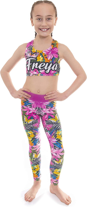Velocity Dancewear Activewear Personalised Crop Top and Leggings Set Butterfly Blue Summer