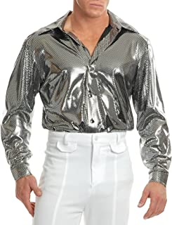 Men's Silver Nail Head Costume Disco Shirt