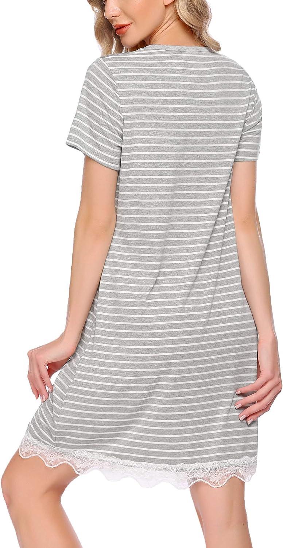 VOOMALL Nightgown Womens Nightshirt Striped Sleepwaar Button Down Pajama Dress V Neck Short Sleeve Sleepshirts