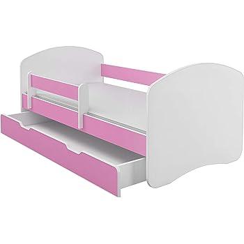 ACMA CHILDREN TODDLER KIDS BED FREE MATTRESS I WHITE Pink, 160x80 cm + drawer