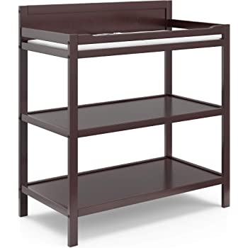 Storkcraft Alpine Changing Table (Espresso) - Includes Water Resistant Changing Pad with Safety Strap, 2 Open Shelves for Storage
