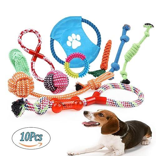 Juguetes de Cuerda para Perros 10 Piezas de Algodón Cuerda Juguete para Cachorros Incluyendo Pelota de