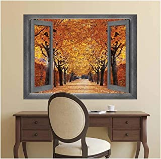 wall26 - Open Window Creative Wall Decor - A Row of Gorgeous Orange Leafed Trees - Wall Mural, Removable Sticker, Home Decor - 36x48 inches